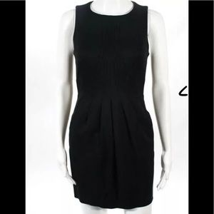 REISS BLACK PLEATED ABOVE KNEE SHEATH DRESS